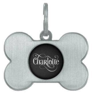 Personalized Swirly Script Charlotte Silv on Black Pet Name Tag