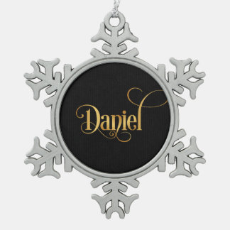 Personalized Swirly Script Daniel Gold on Black Snowflake Pewter Christmas Ornament