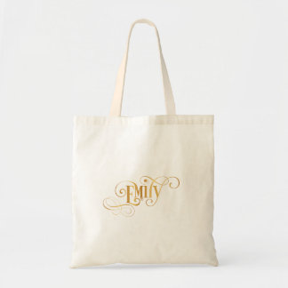 Personalized Swirly Script Emily Gold on Black Tote Bag