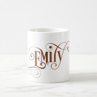 Personalized Swirly Script Emily on Natural Kraft Coffee Mug