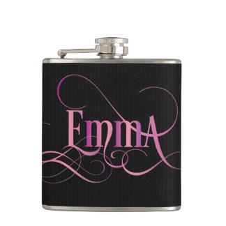 Personalized Swirly Script Emma Pink on Black Hip Flask