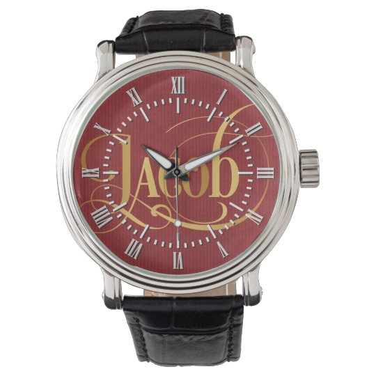 Personalized Swirly Script Jacob Gold on Red Wrist Watches