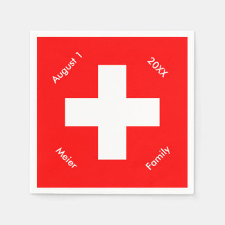 Personalized Swiss Flag Custom Switzerland Paper Napkin