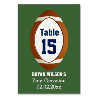 Personalized table numbers Sports Party football Table Card
