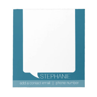 Personalized Talk Bubble Bright Blue and White Notepad
