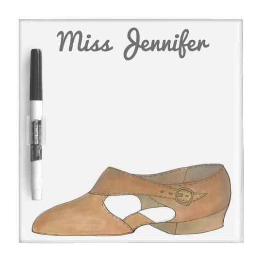 Personalized Tan Lyrical Shoe Dance Teacher Gift Dry Erase Board
