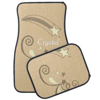 Personalized Tan White Shooting Stars Flourish Car Floor Carpet
