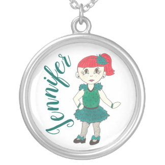 Personalized Tap Dance Teacher Dancing Girl Gift Silver Plated Necklace