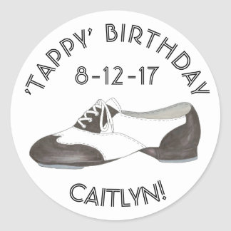 Personalized Tappy Birthday Tap Dance Party Favor Classic Round Sticker