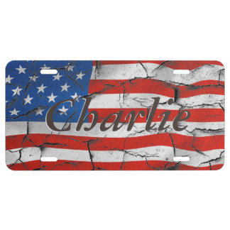 Personalized Tattered and Worn American Flag License Plate