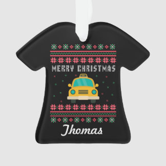Personalized Taxi Cab Ugly Christmas Sweater Ornament