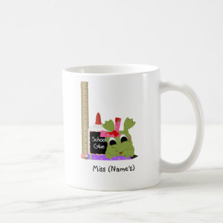 Personalized Teacher Coffee Mug-Cute Frog w/ Ruler Classic White Coffee Mug