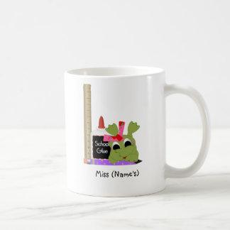Personalized Teacher Coffee Mug-Cute Frog w/ Ruler Classic White Coffee Mug