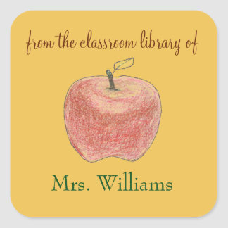 Personalized teacher gift bookplates with apple 2 square sticker
