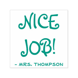 """Personalized Teacher Name + """"NICE JOB!"""" Self-inking Stamp"""