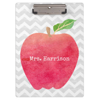 Personalized Teacher Red Apple Gray Chevron Clipboard
