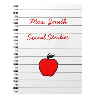 Personalized Teacher's Apple Notebook Gift Present