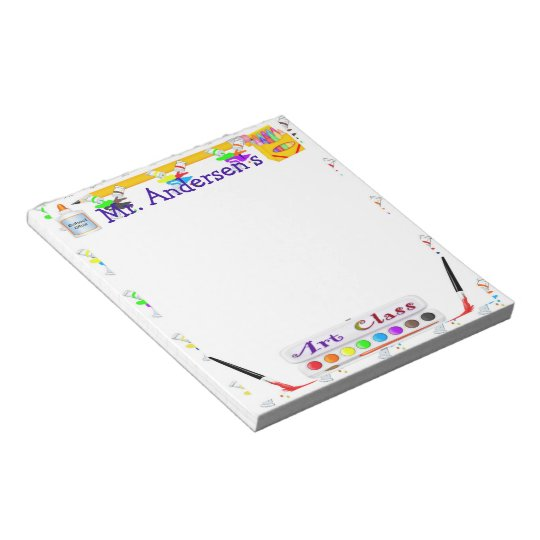 Personalized Teachers Art Class Notepad