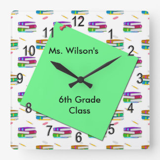Personalized Teachers Books Green Paper Clock