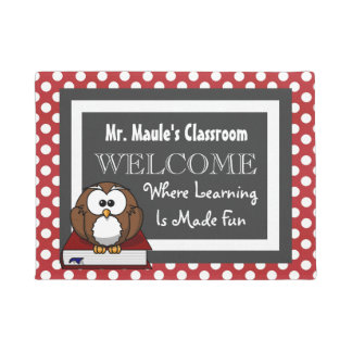 Personalized Teachers Fun Polka Dots Welcome Doormat