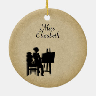 Personalized Teacher's Room Leather Look Ceramic Ornament
