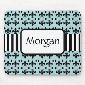 Personalized Teal and Black Anchors Mouse Pad