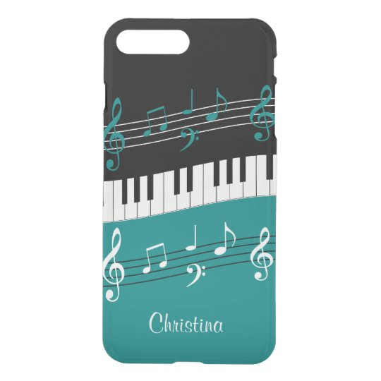 Personalized Teal and  Black music themed iPhone 7 Plus Case