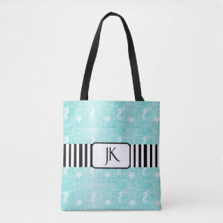 Personalized Teal and Black Seahorse Tote Bag
