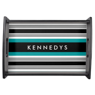 Personalized Teal And Black Striped Serving Trays