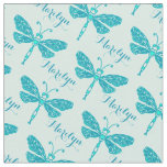 Personalized teal aqua name dragonfly ink pattern fabric