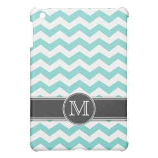 Personalized Teal BLue Chevron with mongram iPad Mini Cover