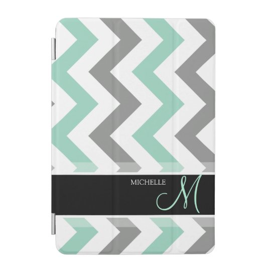 Personalized Teal blue, grey and white Chevrons iPad Mini Cover