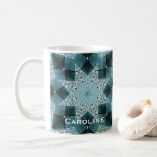 Personalized Teal Blue Star Quilt Pattern Coffee Mug