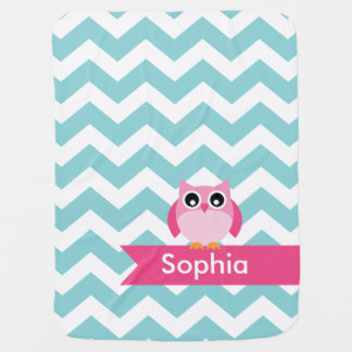 Personalized Teal Chevron Pink Owl Baby Blanket