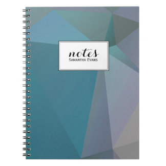 Personalized Teal Gray Geometric Shapes Pattern Notebook