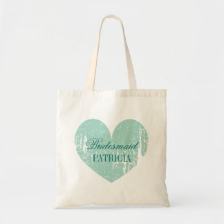 Personalized teal heart bridesmaid tote bags