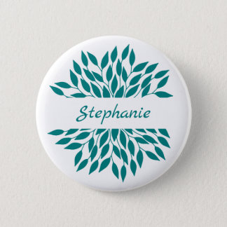 Personalized Teal Leafy Mandala 2 Inch Round Button