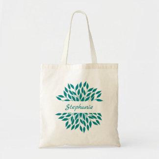 Personalized Teal Leafy Mandala Tote Bag