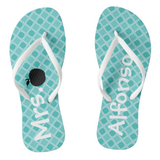 Personalized Teal Patterned Teacher  Flip Flops