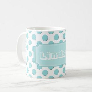 Personalized Teal Polka Dots Name Coffee Mug