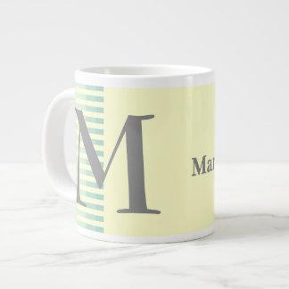 Personalized Teal Stripes & Light Yellow Monogram Large Coffee Mug