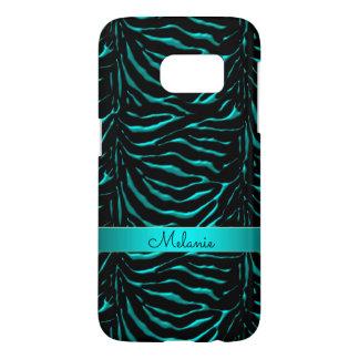 Personalized Teal Zebra Animal Print Samsung Galaxy S7 Case
