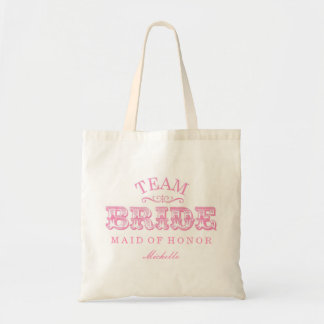"Personalized ""Team Bride"" Bridal Party Tote (pink) Budget Tote Bag"