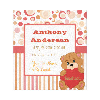 Personalized teddy bear birth stat canvas print