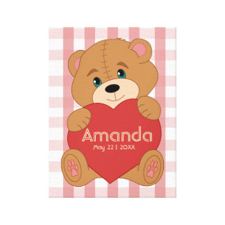 Personalized teddy bear heart monogram canvas print