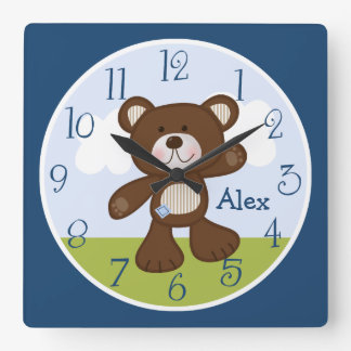 Personalized Teddy Bear Kids Clock