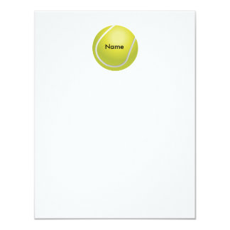 "Personalized Tennis Ball Flat Note Card 4.25"" X 5.5"" Invitation Card"