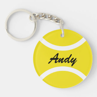 Personalized tennis ball keychain with name