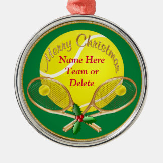 Personalized Tennis Christmas Ornaments, YOUR TEXT Metal Ornament