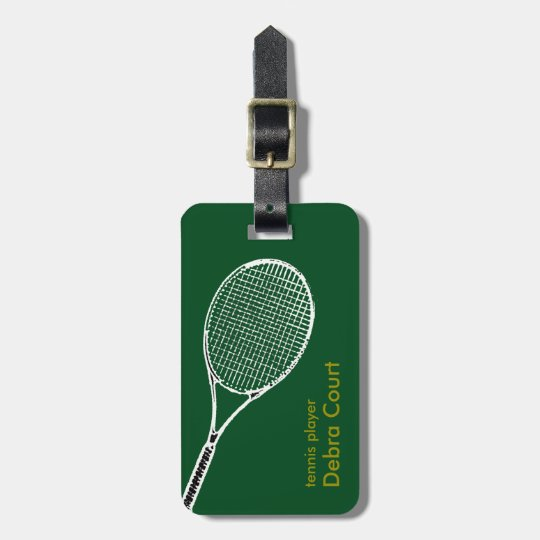 personalized tennis player travel luggage tag